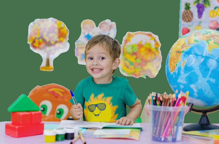 ילד עם צבעים שקוף